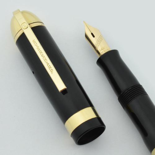 Eversharp Skyline Demi Fountain Pen - New Old Stock, Black w Wide Band, Gold Derby, Fine Manifold Nib (NOS, Restored)