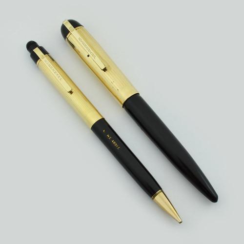 Eversharp Skyline Fountain Pen Set - Black, Longitudinal Caps, Manifold Medium Nib (Excellent, Restored)
