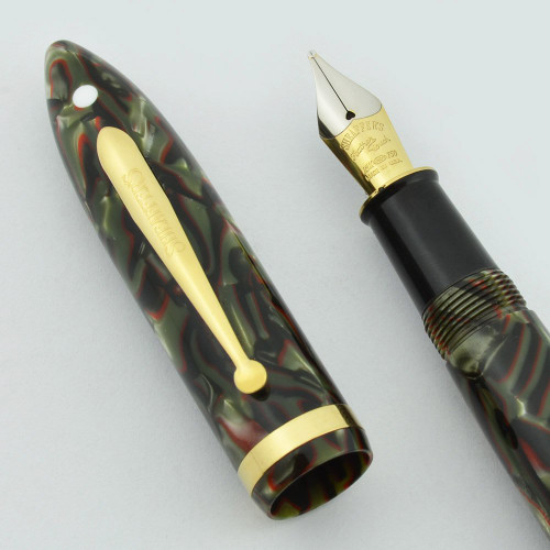 Sheaffer Balance II Limited Edition Fountain Pen - #2093/6000, Green/Grey/Red Marble, Feather Touch Stub Italic Nib (Near Mint, Works Well)