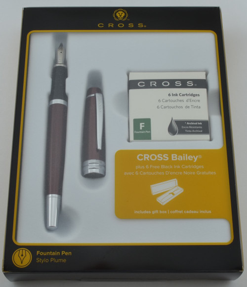 Cross Bailey Fountain Pen - Red, Chrome Trim (New in Box)