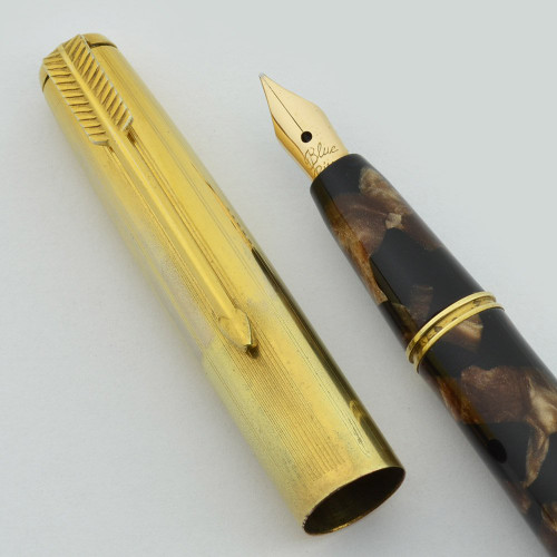 Blue River Fountain Pen - Brown Marble, Button Fill, Flexible Nib (Excellent, Restored)