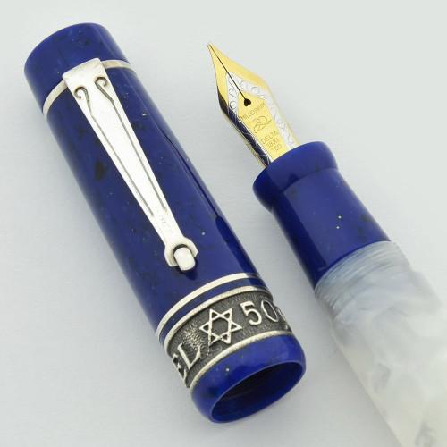 Delta Israel 50 LE Fountain Pen - White & Blue Resin, Sterling Trim, 18k Left Oblique (OM) Nib (Near Mint, Works Well)