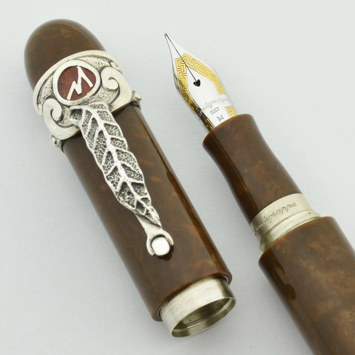 Montegrappa Cigar Aficionado LE Fountain Pen  - Brown with Sterling Trim, 18k Medium Nib (Near Mint, Works Well)