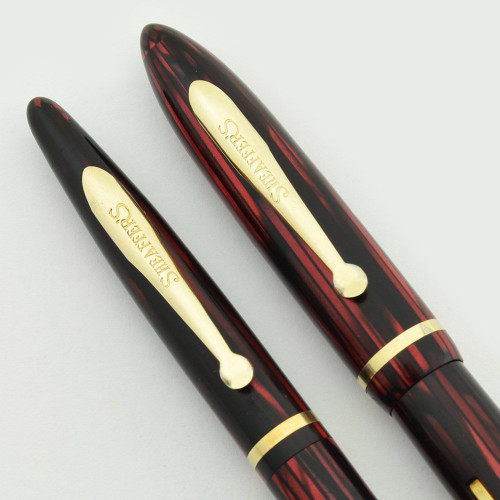 Sheaffer Balance 350 Fountain Pen Set - Small Size, Carmine Striated, Fine (Excellent, Restored)