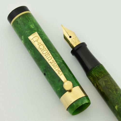 Diamond Medal Standard Fountain Pen -- Full Size Slender, Green w White Bands, Fine Nib (Excellent, Restored)