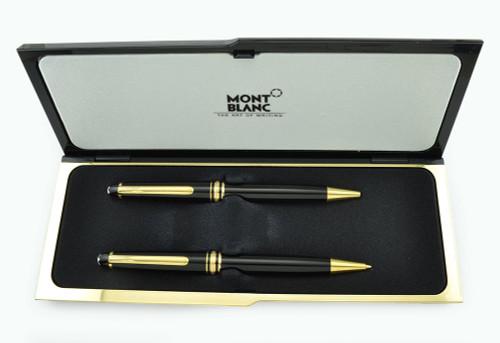 Montblanc Meisterstuck Ballpoint & Pencil Set - Black, Gold Plated Trim (Excellent in Box, Work Well)