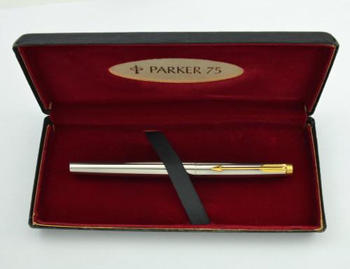 Parker 75 Fountain Pen - Flighter DeLuxe, GP Trim, 14k Medium (Superior in Box, Works Well)