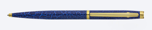 Elysee En Vogue Ballpoint Pen - Blue Leather Lacquer, Gold Plated Trim (Near Mint, Works Well)