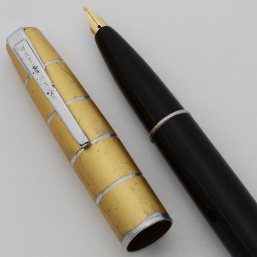 Waterman Taperite Crusader Fountain Pen - Black , Gold Cap, Medium Semi-Flex 14k Nib (Very Nice, Restored)