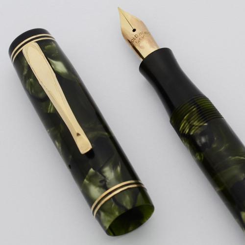 Gold Bond Junior Flat Top Fountain Pen - Green Marbled w Black End Caps, Fine 14k Nib (Excellent, Restored)