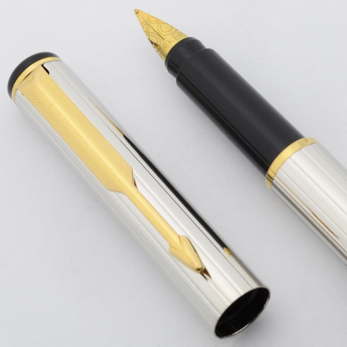 "Parker 88 ""Rialto"" Corinth Fountain Pen - Sterling Silver Plated w Gold Trim, Medium Steel Nib (New Old Stock, Works Well)"