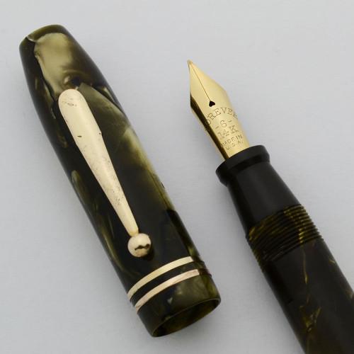 Rexall Monogram Fountain Pen by Kraker -  Oversize, Green Marble, Fine 14k Nib (Excellent, Restored)
