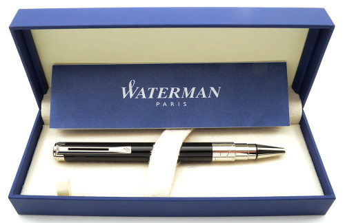Waterman Perspective Ballpoint Pen - Black Lacquer, Palladium Plated Trim, (Near Mint in Box, Works Well)