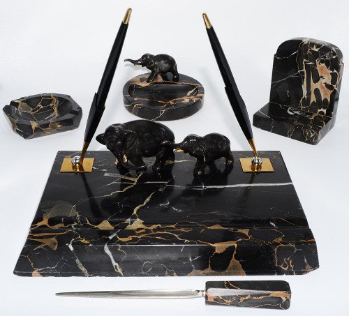 Parker 51 Aerometric Figural Desk Set - Five Pieces, Elephants, Grey Marble, 2 Fountain Pens (Excellent, Works Well)