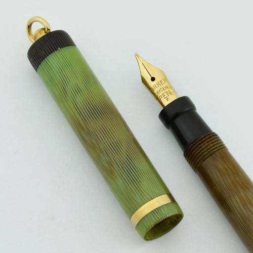 Parker Duofold Lucky Curve Petit Pastel Ring Top Set - Apple Green, Semi-Flex Medium Gold Nib (Very Nice, Restored)