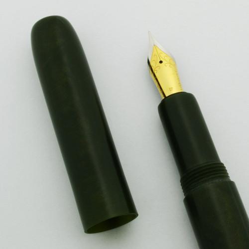 PSPW Prototype Fountain Pen - Long Slender Model in Green w Gold Flecks, JoWo #6 Nibs