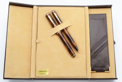 Sheaffer Grand Connaisseur Fountain and Ballpoint Pen Set (1987) - Tortoiseshell, Gold Filled Trim, Medium Nib  (New Old Stock in Box)