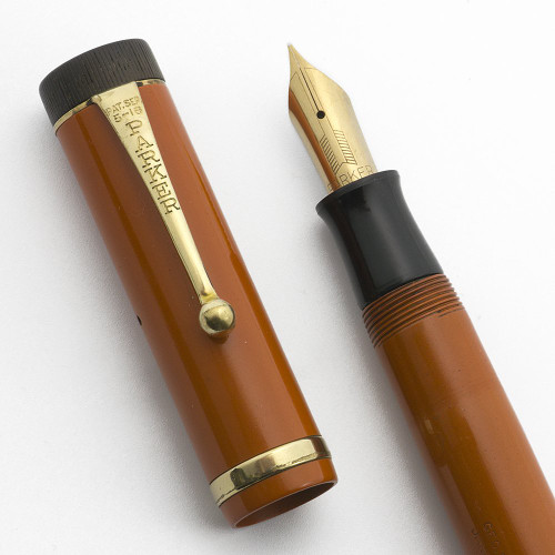 Parker Duofold Senior Fountain Pen (1920s)  - Red, Raised Band, Fine 14k Vacumatic Nib (Excellent, Restored)