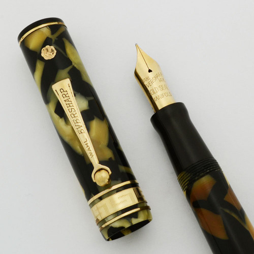 Eversharp Decoband Gold Seal Fountain Pen - Black and Pearl, Oversize, Fine Manifold Nib (Excellent +, Restored)