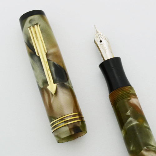 Palealuo Fountain Pen - Green Marble, Button Filler (Excellent, Restored)