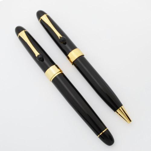 Voyager (Minka?) Fountain and Ballpoint Pen Set - Black w Gold Trim, Minka Nib (Excellent, Work Well)