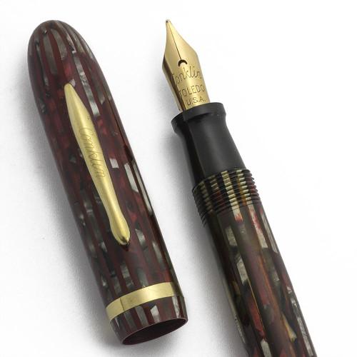 Conklin Nozac QF Fountain Pen (Uncommon) - Red Pearl, Vest Pocket, Vacuum Filler, 14k Flexible Medium (Excellent, Restored)