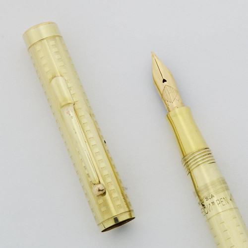 Hutcheon Brothers Fountain Pen - Gold Filled Checkerboard Overlay, 14k Flexible Fine Nib (Excellent, Restored)