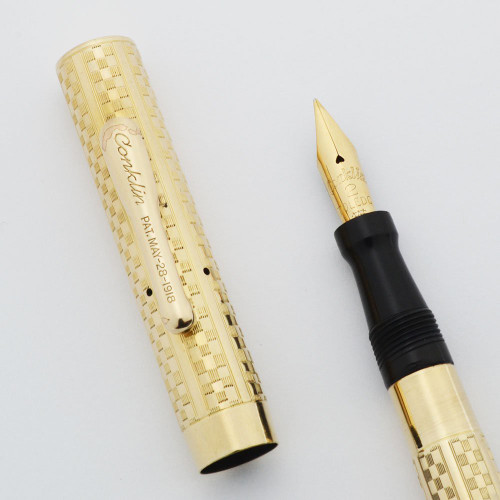 "Conklin Crescent 2 Fountain Pen - ""Gothic"" Checkerboard GF Overlay, Flexible Medium 14k Nib (Excellent, Restored)"