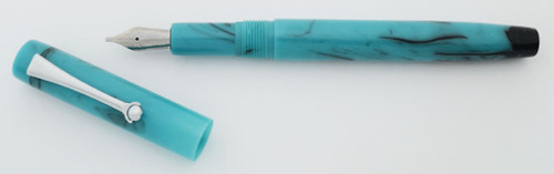 PSPW Prototype Fountain Pen - Oversize Turquoise and Black Swirl, Clip Model, JoWo #6 Nibs
