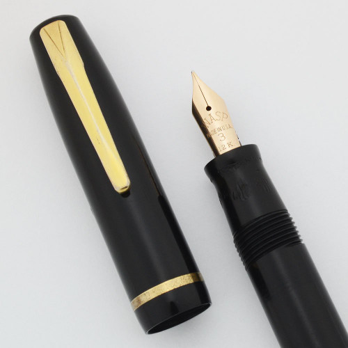 WASP (Sheaffer) Addipoint Fountain Pen - Lever Filler, Black, Fine 12k Nib (Very Nice, Restored)