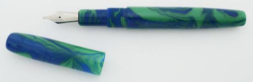 PSPW Prototype Fountain Pen - Green & Blue Alumilite, Standard Size, #6 JoWo Nib (New)