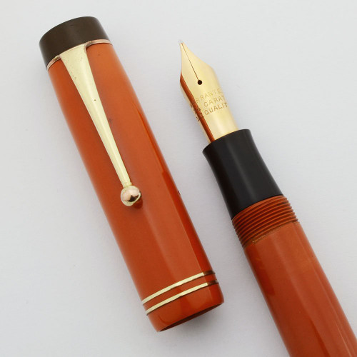 Regent Senior Fountain Pen (1920s) - Red Duofold Look-Alike, Button Filler, Fine 14k Nib (Excellent +, Restored)