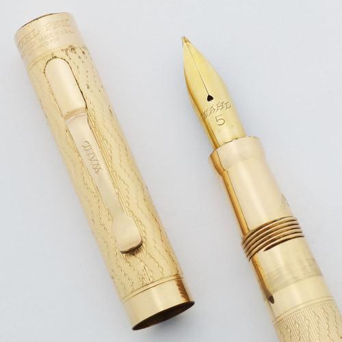 Wahl #5 Fountain Pen (1920s) - GF Ripple Overlay, Full Size w Clip, Flexible Medium Nib (Excellent +, Restored)