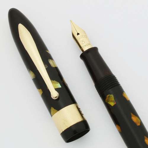 Sheaffer Balance Mercury Fountain Pen - Ebonized Pearl, Milled Cap Band, Lever, Fine 14k #3 Nib (Excellent, Restored)