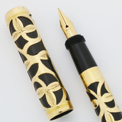 Moore Non-Leakable Safety Fountain Pen - Gold Filled Filigree, Flexible Fine 14k Nib (Excellent +, Restored)