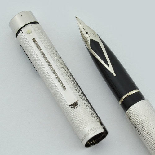 Sheaffer TARGA 1008 Fountain Pen - Silver Plated Barleycorn, Chrome Trim, Various Steel Nibs (New Old Stock)