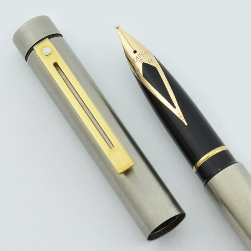 Sheaffer TARGA 1001XG (Early Version) Fountain Pen - Brushed Steel w Gold Trim, Various Gold Nibs (New Old Stock)