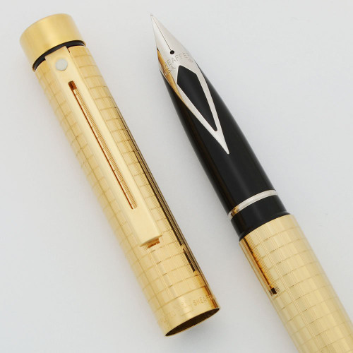 Sheaffer Targa 1007 Fountain Pen - Gold Plated Geometric, Various Steel Nibs (New Old Stock)