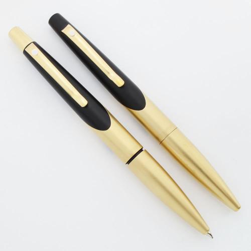 Sheaffer Intrigue Pen Set - Gold Plated & Matte Black, BP & MP (Near Mint, Work Well)