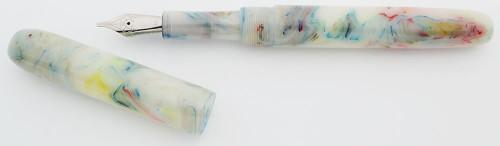 PSPW Prototype Fountain Pen - Multi-Swirl Alumilite, No Clip, Oversize, #6 JoWo Nibs (New)