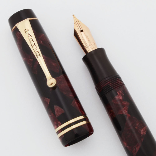 Parker Duofold Junior Fountain Pen - Burgundy and Black, Streamlined, Fine Gold Nib (Very Nice, Restored)