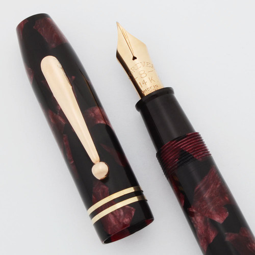 Rexall Monogram Fountain Pen by Kraker - Red Marble, Oversize, Fine 14k Nib (Superior, Restored)