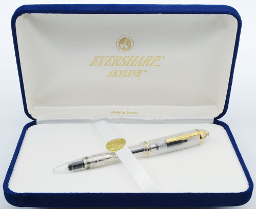 Wahl-Eversharp Skyline Demonstrator Fountain Pen (Modern) - Clear, 14k Medium Nib (Excellent in Box, Works Well)