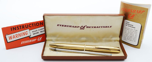 "Eversharp ""Capillary Action"" Retractable Ballpoint Pen - Gold Filled Lined, Cap Actuated, Early Era (Excellent + in Box, Needs Refill)"