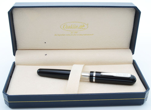 Conklin (Modern) Heritage Sleeve Filler Fountain Pen - Black, 1.1mm Steel Nib (Superior in Box, Works Well)