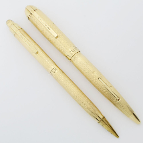 "Eversharp Skyline Fountain Pen Set (Uncommon) - Gold Filled ""Dart"" Pattern, 14k Flexible Fine Nib (Excellent +, Restored)"