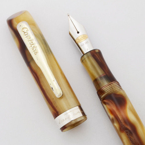 Conklin Mark Twain Signature Fountain Pen - Honey Marble w Sterling Trim, Broad 14k 585 Nib (Excellent in Box, Works Well)