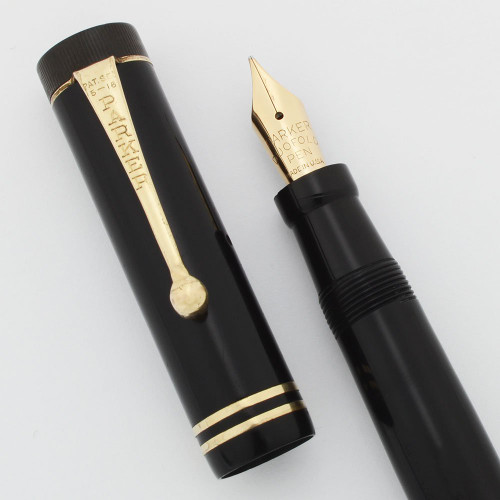Parker Duofold Junior Fountain Pen (1930s) - Black, Two Bands, Medium Nib (Excellent, Restored)