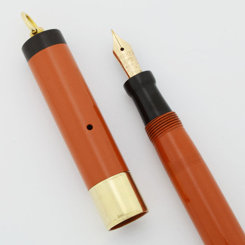 Parker Lady Duofold Deluxe Ring-Top Fountain Pen - Wide Band, Orange, Fine Nib (Very Nice, Restored)