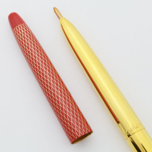 "Parker-Eversharp Kimberly Gamin ""Tiara"" Mini- Ballpoint (1959) - Gold with Red Fish Scale Cap (Mint, Needs Refill)"